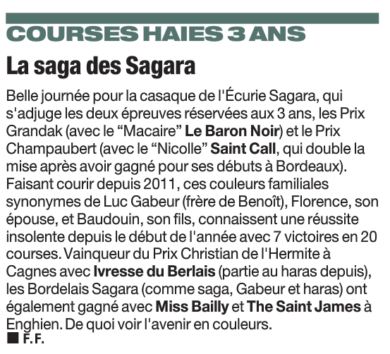 La Saga des Sagara - Paris Turf