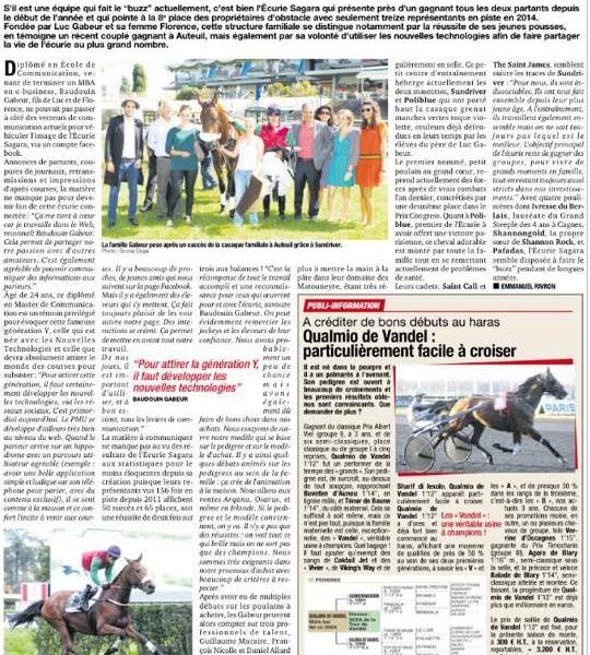 Une écurie connectée article Paris Turf - Écurie Sagara
